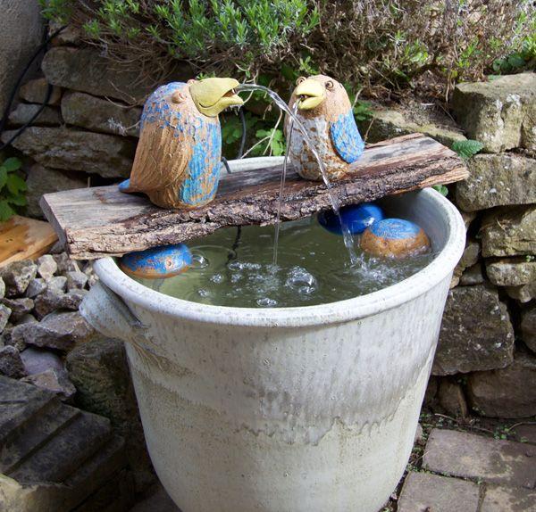 Keramik Brunnen Vogel Handmodelliert Als Wasserspeier Mit Keramiktopf O Ca 55cm Wasserspeier Brunnen Bauen Topferarbeiten