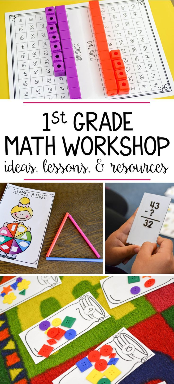 Tons of guided math workshop activities for a first grade classroom! Unit includes detailed lesson plans, hands on games, and so much more for the whole year!