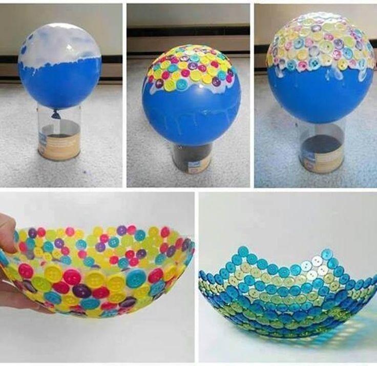 19 cosas que puedes hacer con Globos - Bowl realizado con botones.