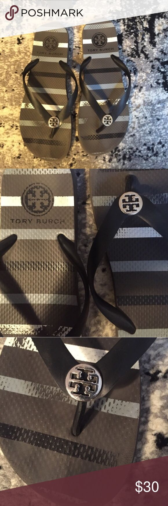 Tory Burch Flip Flops Tory Burch Flip Flops. Pattern of blues, grays, black and white a little worn in (see pictures) worn but good condition Tory Burch Shoes Sandals