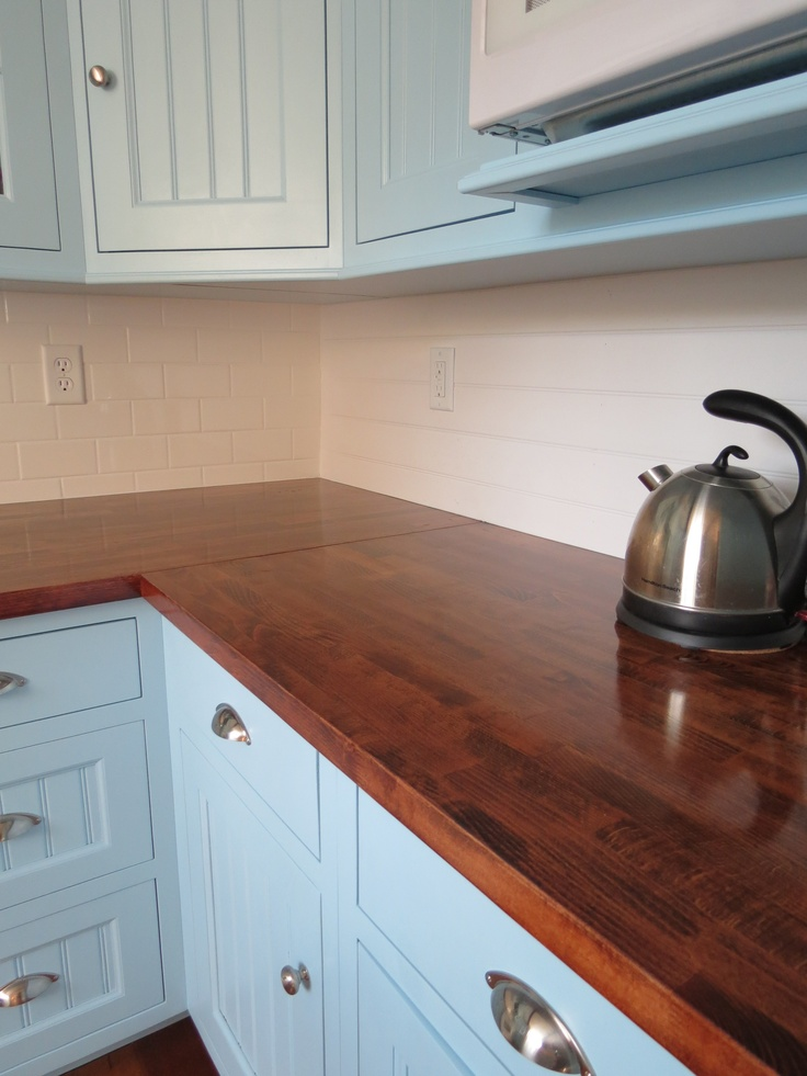 Butcher block countertops from Ikea, sanded down, stained and sealed with waterlox Kitchen ...