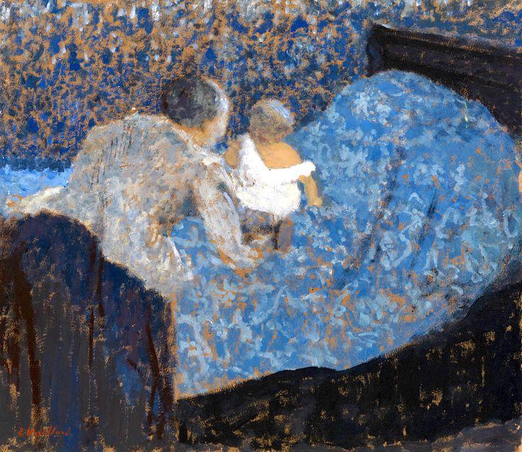 Édouard Vuillard, Grand-mère et enfant au lit bleu, 1899,