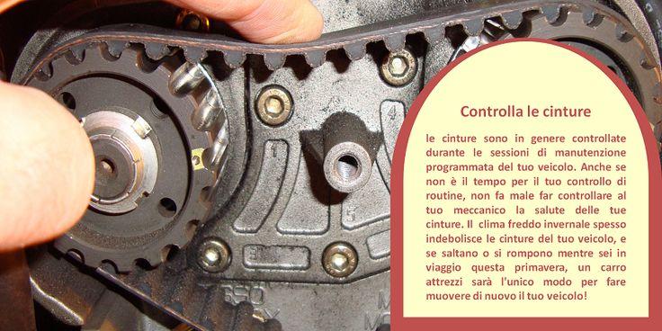Tubi e cinture   Controlla che i tubi non abbiano crepe, perdite e collegamenti allentati. I tubi flessibili devono essere fermi, in particolare dove sono più vulnerabili nei pressi di morsetti che si connettono al radiatore o al motore. Dei tubi morbidi o flessibili spesso indicano un problema. Allo stesso modo, controlla che le cinture non abbiano  crepe e danni. Una cintura liscia o scivolosa può essere un segno di usura eccessiva. #pneumaticiinvernali
