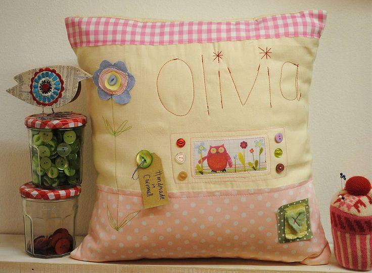 Personalised owl cushion