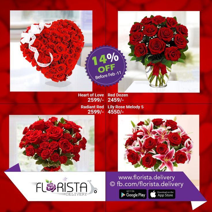 Valentine Special Offer   Pre-order any boutique between 25 January-10 February 2017 from Florista.Delivery and Enjoy 14% off on every boutique.  Boutique name: Heart of Love Discounted Price: 2599/- Boutique name: Red Dozen Discounted Price: 2459/- Boutique name: Radiant Red Discounted Price: 2599/- Boutique name: Lily Rose Melody 5 Discounted Price: Tk. 4550/-    Florista.Delivery -Express with Flowers!!! To Place your order just call us- 01984-549141