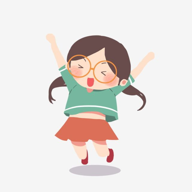 Excited Glasses Girl Png Jumping Up Jumping Clipart Smile Smiley Png Transparent Clipart Image And Psd File For Free Download Desain