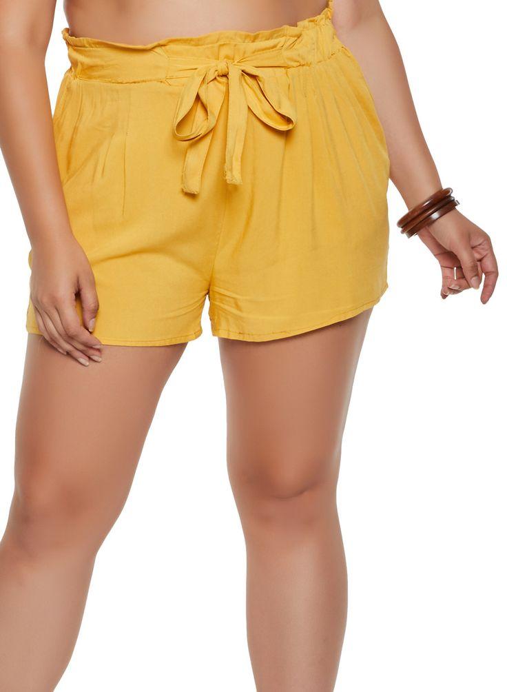 Plus Size Paper Bag Waist Lightweight Shorts - Yellow - Size 3X 3