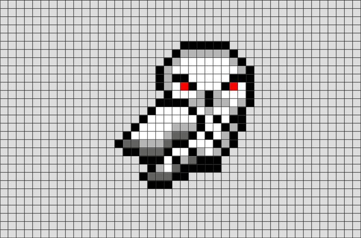 Harry Potter Hedwig Pixel Art from BrikBook.com #HarryPotter #Owl #Hedwig #SnowyOwl #pet #pixel #pixelart #8bit Shop more designs at http://www.brikbook.com