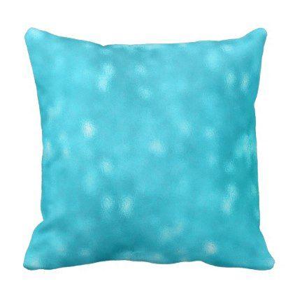 Sea Ocean Blue Marine Aqua Turquoise Tiffany Glas Throw Pillow - metallic style stylish great personalize