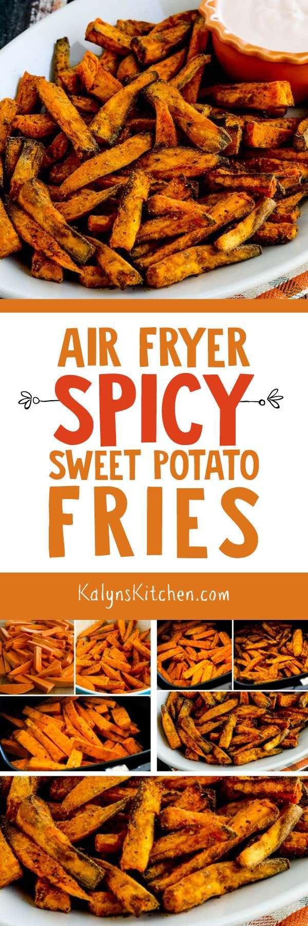 Air Fryer Spicy Sweet Potato Fries are absolutely a WOW, especially is you eat them with my Spicy Dipping Sauce with Sriracha. There's also a link to Spicy Baked Sweet Potato Fries if you're not interested in getting an air fryer! [found on KalynsKitchen.com] #AirFryer #SweetPotatoFries #AirFryerSweetPotatoFries #AirFryerSpicySweetPotatoFries #SpicySweetPotatoFries