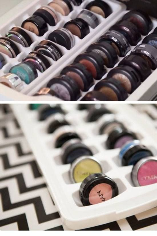 Organize Eye Shadow in an Ice Tray | 18 18 Easy Makeup Organization Hacks Bedroom | Easy Organization Ideas for Girls Bedrooms