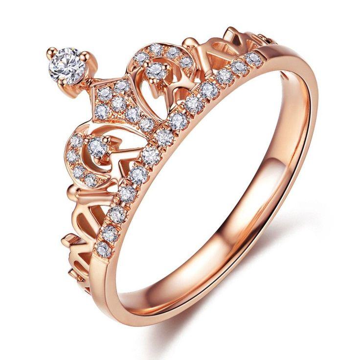Rose Gold Princess Crown Ring