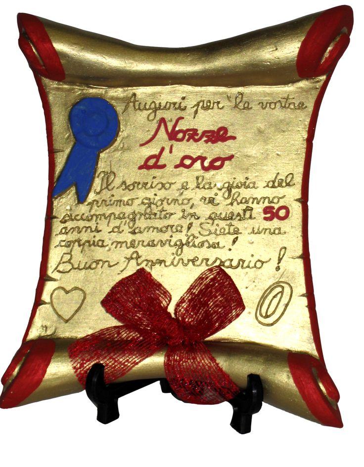 Pergamena resina anniversario nozze d 39 oro prodotti e for Idee regalo per 25 anni matrimonio