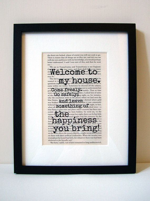 "Dracula - Book Quote Print - Welcome Sign - Housewarming Gift - Birthday Gift - New Home Decor - ""Welcome to my house"""