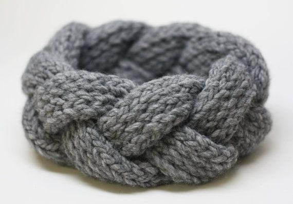 Bandeau Tricot - COULEUR GRIS  - Fait de laine (mélanges avec acrylique) de haute qualité! Fabriqué avec la durabilité à lesprit. - Laver à la