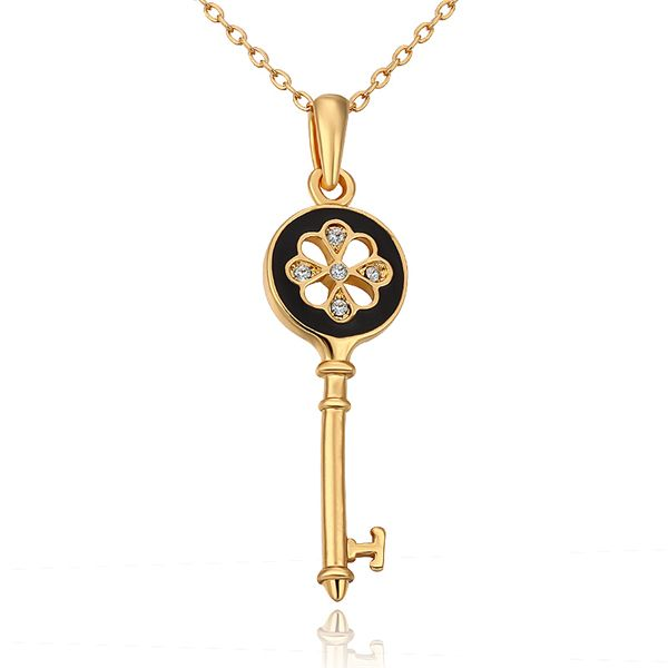 Ожерелья и подвески винтажный ключи плавающий подвески-талисманы ключ кулон 18 K позолота ожерелье 18KGP N666