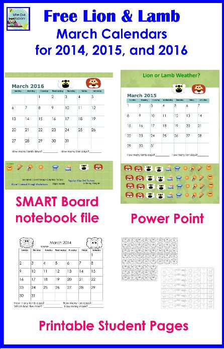 free interactive calendars for March 2014, 2015, and 2016, SMART Board, Power Point, and PDF