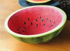 Create this lifelike Painted Watermelon Bowl. Use basic painting techniques and a crumpled paper bag to create the mottled look.