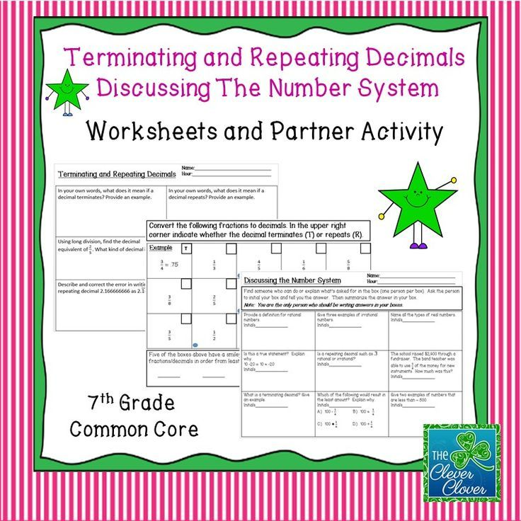 This product includes two activities to be used with the Number System.  The first activity addresses terminating and repeating decimals. The second assignment is a fifteen minute activity. Students circulate around the room and talk to nine different classmates. The engaging activity has students discussing the Number System.