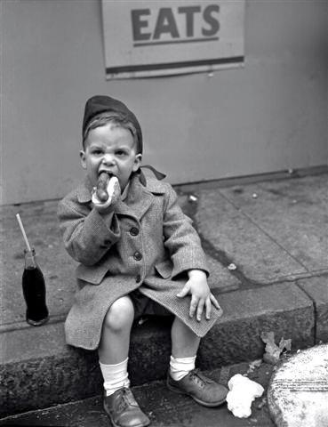 Boy Eating Hot Dog - May 26, 1950