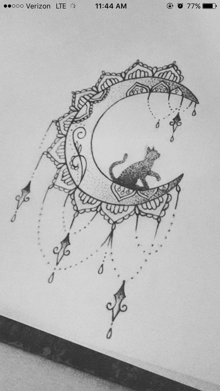 Katzenmond Tattoo – l – #Cat #moon #tattoo   – Tattoos