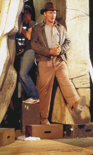Harrison Ford taking the leap of faith on the set of Indiana Jones and the Last Crusade