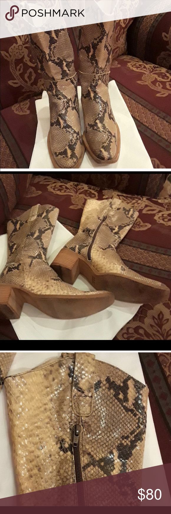 Hype python print leather cowboy boots Made in Spain. Great condition! Hype Shoes Heeled Boots