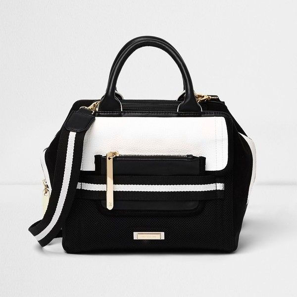 River Island Black sporty crossbody tote bag ($80) ❤ liked on Polyvore featuring bags, handbags, tote bags, bags / purses, black, shoppers / tote bags, women, purse crossbody, hand bags and vegan tote bags