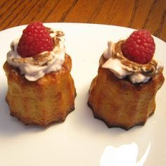 Caneles with Raspberry-Balsamic White Chocolate Whipped Cream