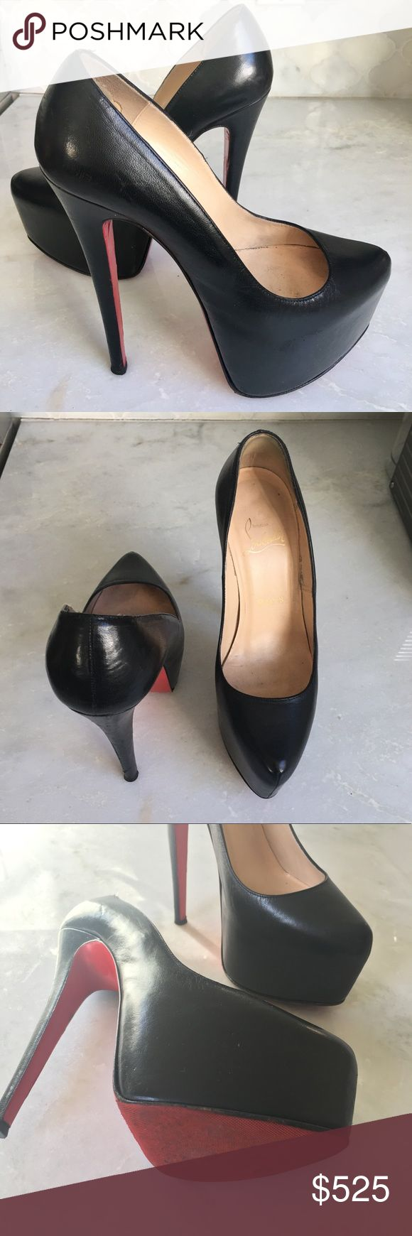 Christian Louboutin Daffodile Black Leather Christian Louboutin Daffodile Black Leather (with ballet sole protector). Great condition! Christian Louboutin Shoes Heels