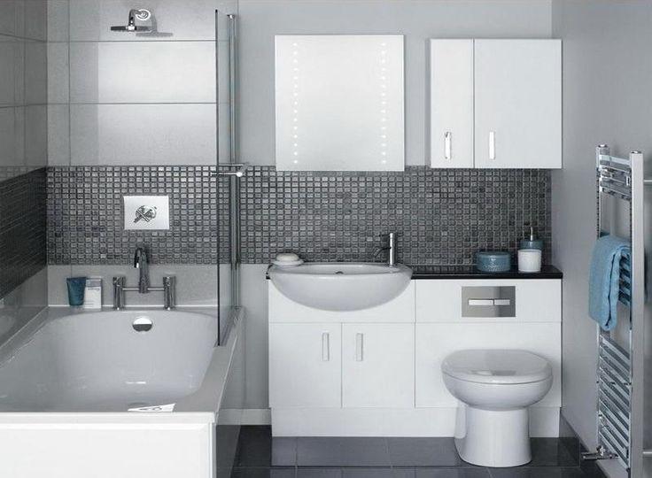 salle de bain moderne avec revêtement mural en carrelage gris perle et frise anthracite