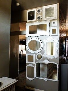 DIY Wall of Mirrors.  From Vintage Revivals: http://vintagerevivals.blogspot.com/2010/08/great-wall-of-mirrors.html