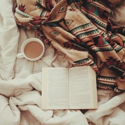 bed,book and hot chocolate