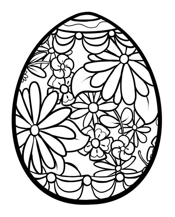 Lots Of Easter Themed Eggs Flowers And Mandala Coloring Pages