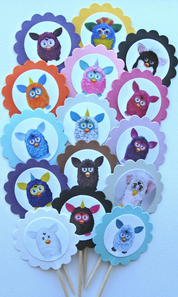 Furby Cupcake Toppers/Party Picks ( item 228 ) Set of 15