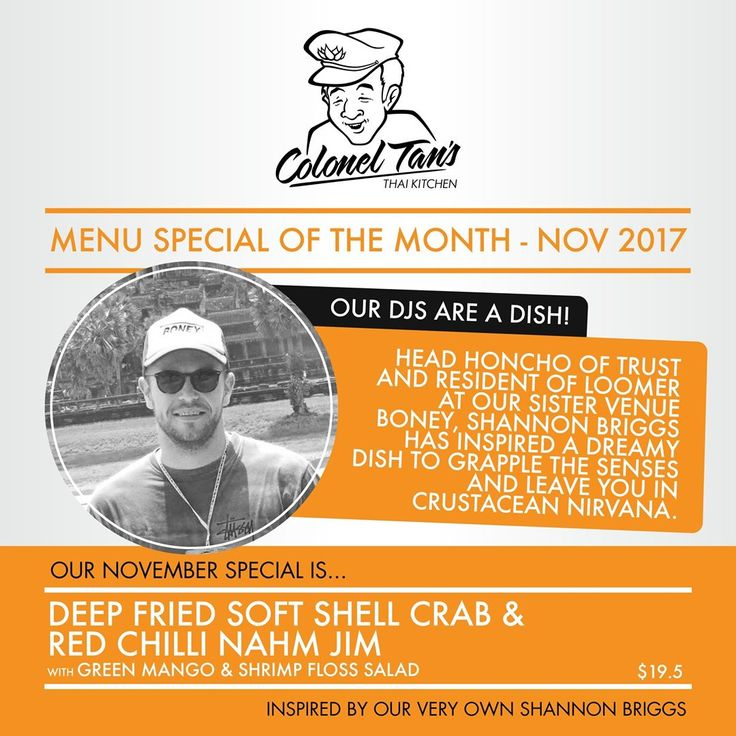 We're excited to announce the return of '#ourdjsareadish' !! Our wonderful Dj's of Revolver get the opportunity to create a dish of the month along side Head Chef Karen Batson which will be available for you all to enjoy  For the month of November we would like to introduce you all to- Shannon Briggs :) Get on down and try this months special at Colonel Tan's