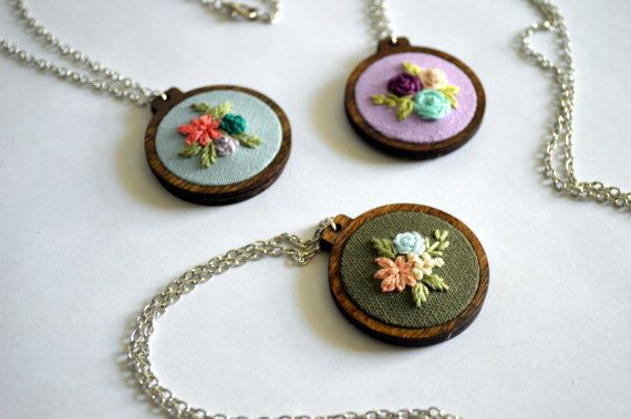 Wildflower Necklace - Hand Embroidered Floral Pendant - Custom Hoop Art Jewelry…