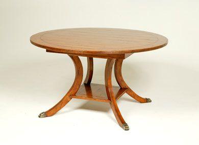 BAUSMAN U0026 CO. / 8769 ROUND DINING TABLE / MITERED PLANK TOP / HI LO