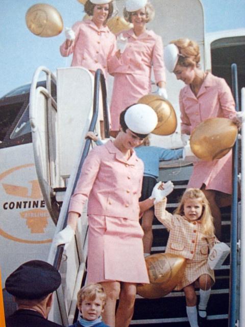 Chic airline attendant uniforms.