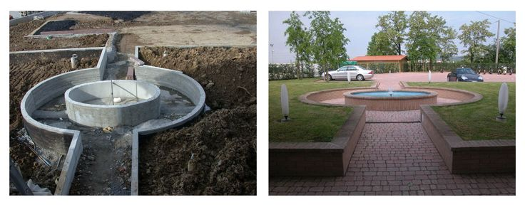 Creazione nuova palazzina uffici per Azienda Agricola e arredo - Realizzazione di una fontana sul viale di accesso alla palazzina uffici. L'idea è la centralità dell'acqua come elemento vitale dell'Azienda Agricola - Maria Teresa Azzola Designer - Gorlago (BG) 2001-2003