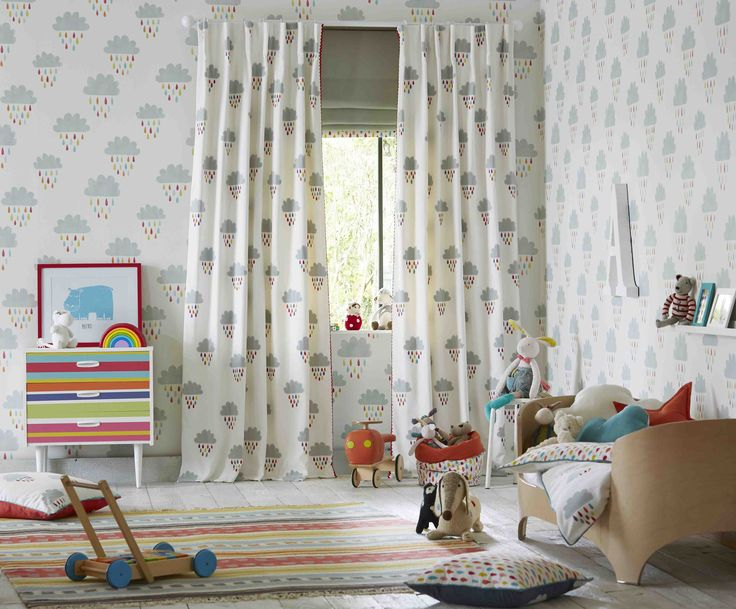 We wished all rainy days were as nice as our 'April Showers' fabric and wallpaper! Our primary coloured nursery shoot from Scion's Guess Who collection is one of our faves!