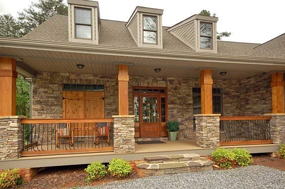 exterior house porch with stone columns | Vista at the Riverbank | Tryon NC | Homes for Sale
