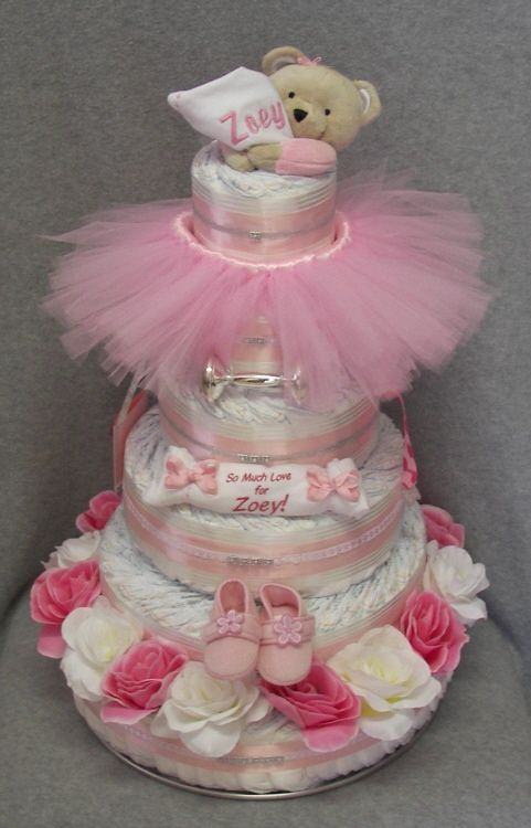 1000 images about diaper cakes on pinterest unique - Unique girl baby shower themes ...