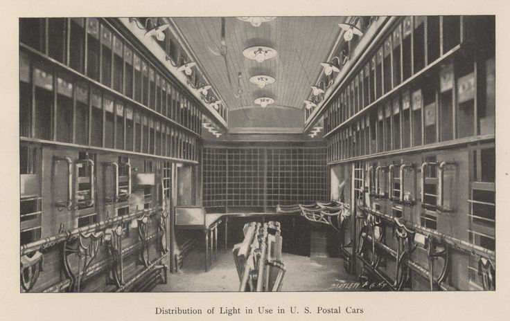 An example of electric lighting in a United States postal train carriage from 'Electric train lighting from the car axle' by J N Abbott, 1900.