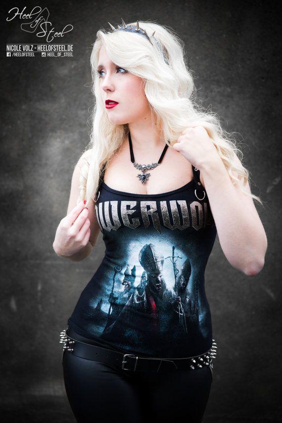Powerwolf t shirt metal top heavy metal clothing reconstructed alternative apparel altered band tee t-shirt rocker chic