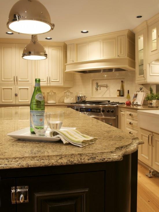 Bisque Kitchen Cabinets With Espresso Island