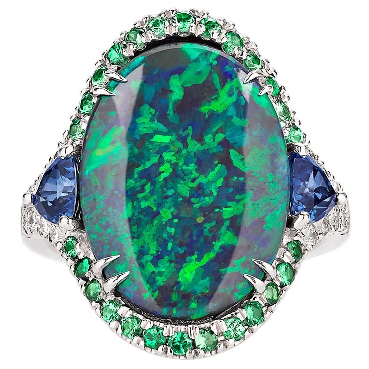 3.60 Carat Lightning Ridge Black Opal Ring | From a unique collection of vintage fashion rings at https://www.1stdibs.com/jewelry/rings/fashion-rings/