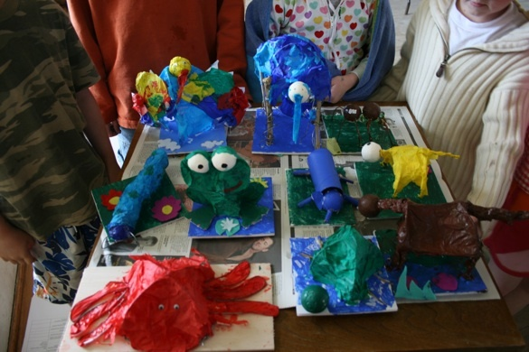 tissue paper animals at a zoo themed party