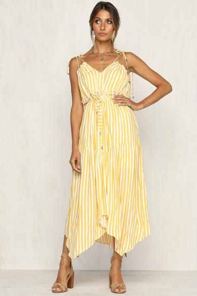 5b78bd7a7a Yellow and white stripe maxi dress Ruffle detail at top and under bust  Adjustable tie straps Ties at waist 100% Rayon Lined Also available in  green Model ...