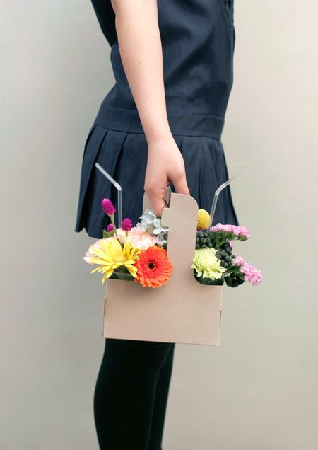 Flowers to Go by sdesignunit: Made with a take out coffee carrier! #Flowers